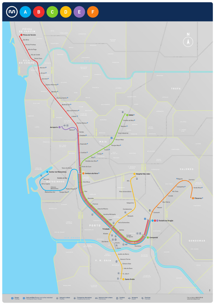 Plano geográfico del mapa del metro de Oporto